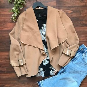 Jackets & Blazers - Camel open front fleece lightweight jacket